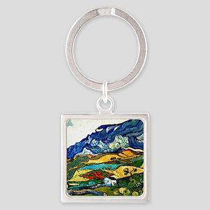 Van Gogh - Les Alpilles Mountain L Square Keychain