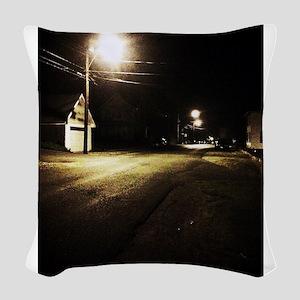 Street at Night Woven Throw Pillow