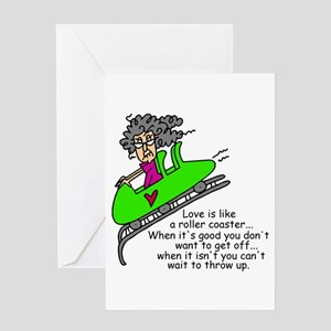 Troubled relationship greeting cards cafepress love is a roller coaster greeting card m4hsunfo