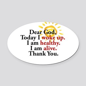 Dear God. Thank You. Oval Car Magnet