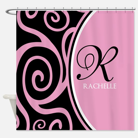 Elegant Black Pink Swirls Monogram Shower Curtain