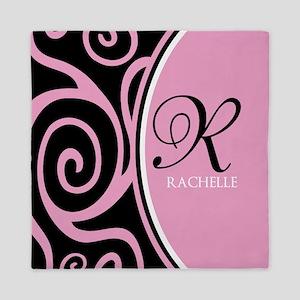 Elegant Black Pink Swirls Monogram Queen Duvet