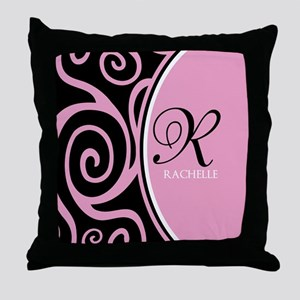 Elegant Black Pink Swirls Monogram Throw Pillow