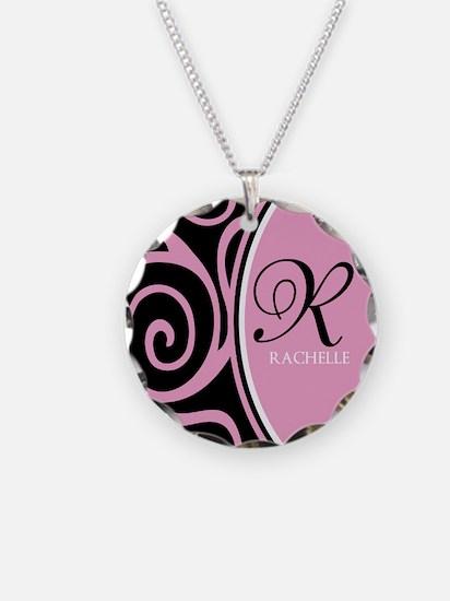 Elegant Black Pink Swirls Monogram Necklace