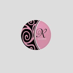 Elegant Black Pink Swirls Monogram Mini Button