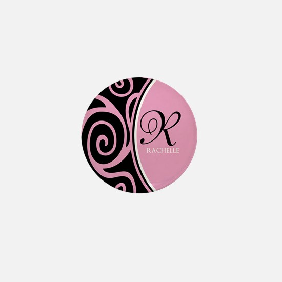 Elegant Black Pink Swirls Monogram Mini Button