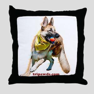 Tripawds Three Legged GSD Ball Throw Pillow