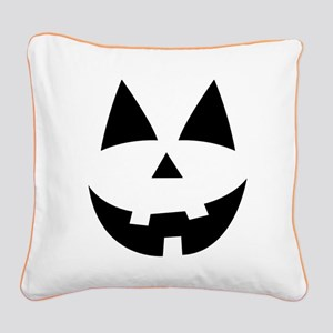 Pumpkin Face Square Canvas Pillow