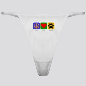 Peace Love Collie Classic Thong