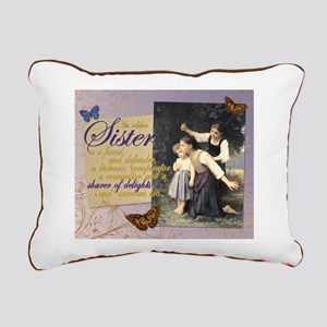 Older Sisters: In the Woods Rectangular Canvas Pil