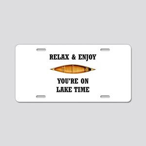 On Lake Time Aluminum License Plate
