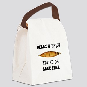 On Lake Time Canvas Lunch Bag