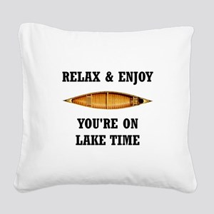On Lake Time Square Canvas Pillow