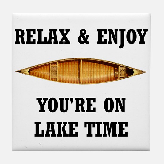 On Lake Time Tile Coaster