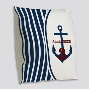 Anchor and Stripes Monogram Burlap Throw Pillow