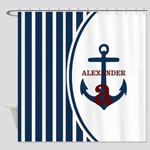 Anchor and Stripes Monogram Shower Curtain