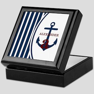 Anchor and Stripes Monogram Keepsake Box