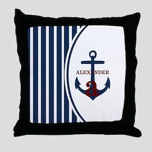 Anchor and Stripes Monogram Throw Pillow