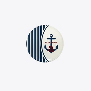 Anchor and Stripes Monogram Mini Button