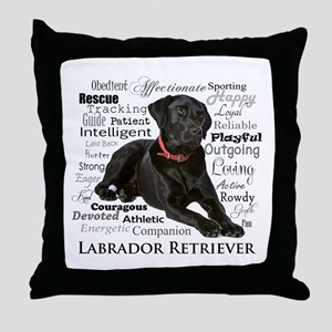 Black Lab Traits Throw Pillow