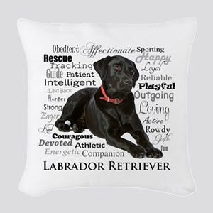 Black Lab Traits Woven Throw Pillow