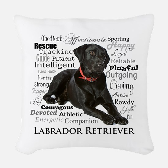 Black Lab Traits Woven Throw Pillow