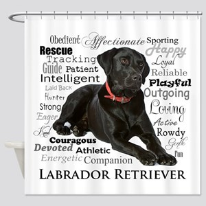 Black Lab Traits Shower Curtain