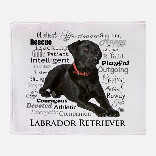 Black Lab Traits Throw Blanket