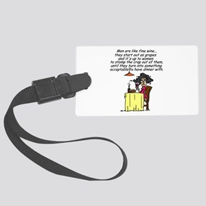 Men and Fine Wine Large Luggage Tag