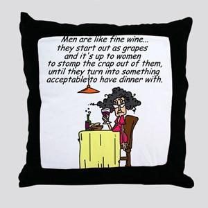 Men and Fine Wine Throw Pillow