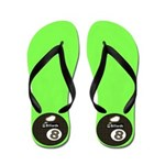 Neon Green 8 Ball Pool Player Flip Flops