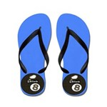 Caribbean Blue 8 Ball Pool Player Flip Flops