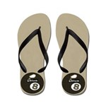 Beach Sand 8 Ball Pool Player Flip Flops