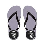 Grey 8 Ball Pool Player Flip Flops