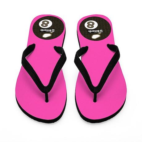 Hot Pink 8 Ball Pool Player Flip Flops