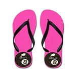 Hot Pink 8 Ball Pool Player Flip Flops