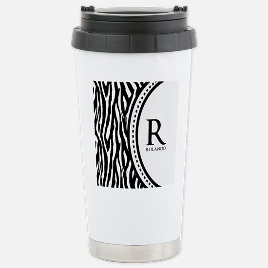 Trendy Animal Print Monogram Stainless Steel Trave