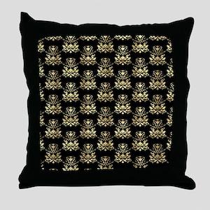 Elegant Gold and Black Damask Pattern Throw Pillow