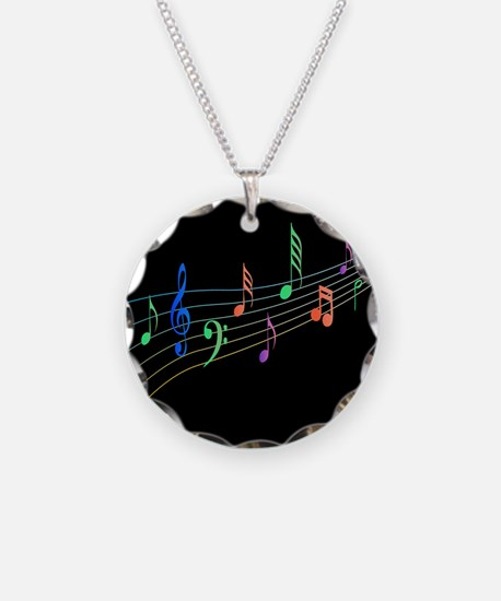 Colorful Musical Notes On A Black Background Neckl