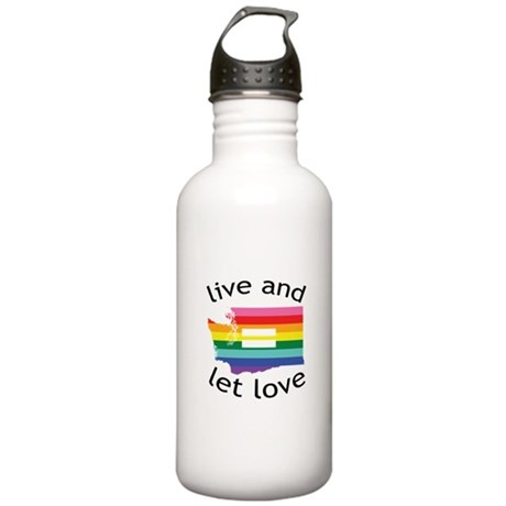 Washington equality live love blk font Water Bottl