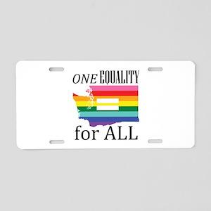 Washington one equality blk font Aluminum License