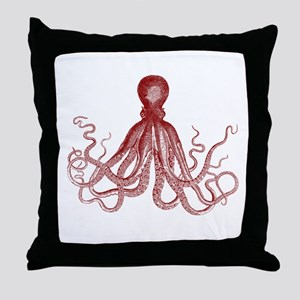 Burgundy Octopus Throw Pillow