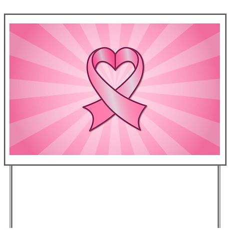 Breast Cancer Heart Ribbon Yard Sign