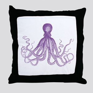 Purple Octopus Throw Pillow