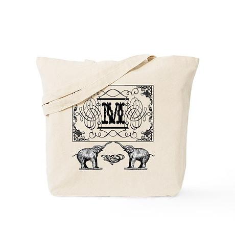 Letter M Ornate Circus Elephants Monogram Totebag