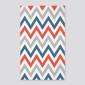 Red-Orange, Gray, Blue chevrons 3'x5' Area Rug