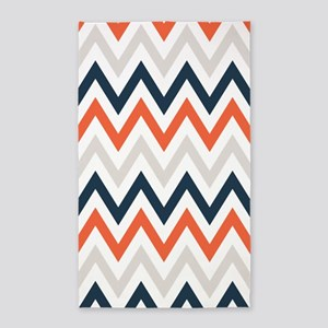 orange, Gray, Navy chevrons 3'x5' Area Rug