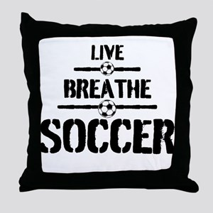 Live Breathe Soccer Throw Pillow