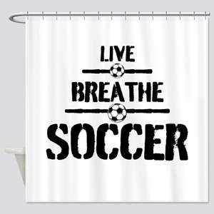 Live Breathe Soccer Shower Curtain