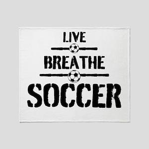 Live Breathe Soccer Throw Blanket
